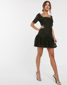 Read more about Asos design square neck mini dress in lace with flute hem-green