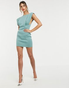 Read more about Asos design square neck mini dress with fold sleeve-blue