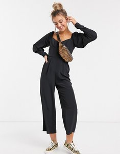 Read more about Asos design square neck puff sleeve jumpsuit in black