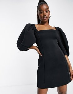 Read more about Asos design square neck puff sleeve mini aline dress in black
