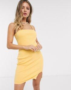 Read more about Asos design square neck rib mini dress with split in buttermilk-yellow