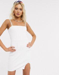 Read more about Asos design square neck rib mini dress with split in white