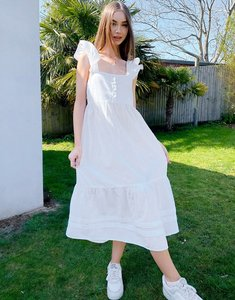 Read more about Asos design square neck ruffle smock midi sundress in linen in white