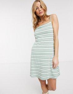 Read more about Asos design square neck stripe mini dress in sage-multi