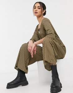 Read more about Asos design square neck textured smock jumpsuit in mini check-multi