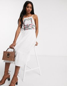 Read more about Asos design square neck tiered midi dress with lace and embroidery in white