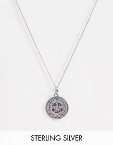 Read more about Asos design sterling silver coin pendant necklace in burnished silver