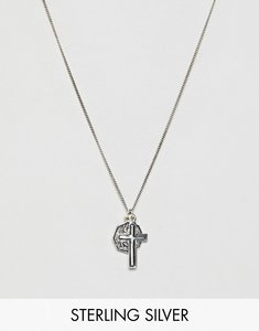 Read more about Asos design sterling silver necklace with st christopher and cross pendants
