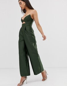 Read more about Asos design structured jumpsuit with wide leg-green