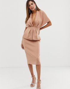Read more about Asos design structured plunge kimono midi dress with peplum-pink
