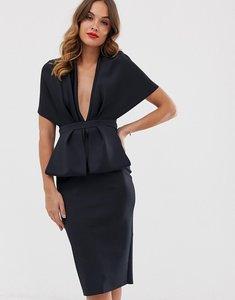 Read more about Asos design structured plunge kimono midi dress with peplum-black