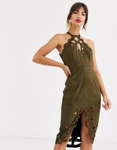 Read more about Asos design suedette midi dress with cutwork detail-green
