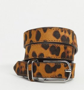 Read more about Asos design super skinny belt in leopard print with round silver buckle-brown