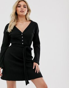Read more about Asos design super soft long sleeve belted rib mini dress in black