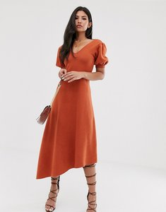 Read more about Asos design super soft puff sleeve v back midi dress with asymmetric hem-orange