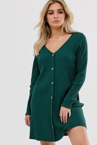 Read more about Asos design super soft rib button through swing dress in green