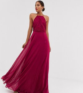 Read more about Asos design tall bridesmaid pinny maxi dress with ruched bodice-red