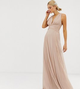 Read more about Asos design tall bridesmaid ruched bodice drape maxi dress with wrap waist-pink