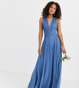 Read more about Asos design tall bridesmaid ruched bodice drape maxi dress with wrap waist-blue