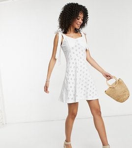 Read more about Asos design tall broderie mini skater dress with bunny ties at shoulders in white