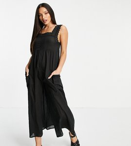Read more about Asos design tall broderie trim jumpsuit in black