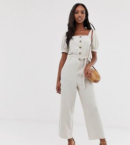 Read more about Asos design tall button front tie waist puff sleeve jumpsuit with short sleeves-beige
