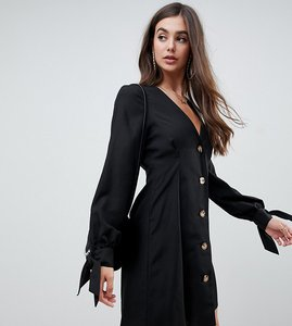 Read more about Asos design tall button through mini skater dress with tie sleeves-black