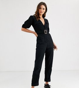 Read more about Asos design tall denim belted jumpsuit with banana leg-black