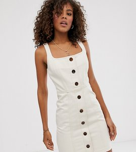 Read more about Asos design tall denim mini dress with buttons-beige