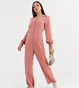 Read more about Asos design tall denim soft drape jumpsuit with longsleeve in terracotta-orange