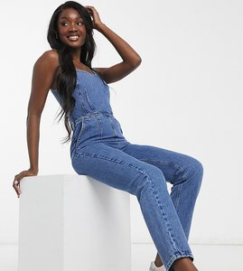 Read more about Asos design tall denim square neck fitted jumpsuit in midwash-blue