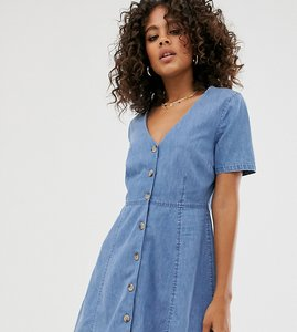 Read more about Asos design tall denim tea dress with mock horn buttons in blue