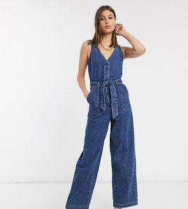 Read more about Asos design tall denim v neck jumpsuit in blue