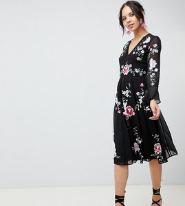 Read more about Asos design tall embroidered midi dress with lace trims-black