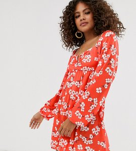 Read more about Asos design tall exclusive cheesecloth v bar mini dress in floral print-multi