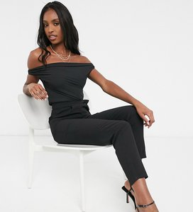 Read more about Asos design tall fallen shoulder chiffon jumpsuit in black