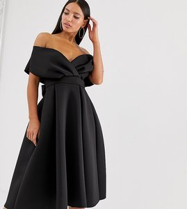 Read more about Asos design tall fallen shoulder midi prom dress with tie detail in black