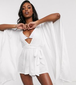 Read more about Asos design tall glam belted beach playsuit with exaggerated sleeve in white