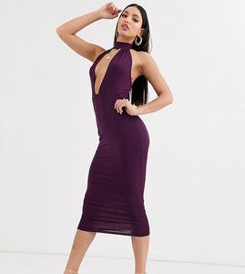 Read more about Asos design tall going out deep plunge midi dress in purple