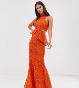 Read more about Asos design tall high neck lace maxi dress with cut outs and fishtail hem-red