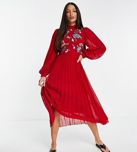 Read more about Asos design tall high neck pleated long sleeve skater midi dress with embroidery in oxblood-red