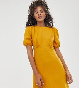Read more about Asos design tall linen mini dress with puff sleeves-yellow