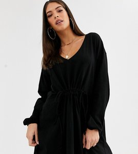 Read more about Asos design tall long sleeve smock dress with drawstring waist-black