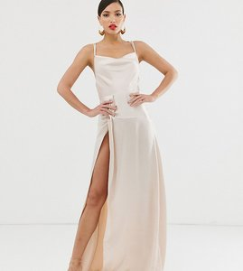 Read more about Asos design tall maxi dress with thigh split and cowl neck in satin-grey