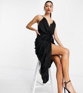 Read more about Asos design tall midi chiffon drape dress with structured bodice-black