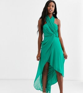 Read more about Asos design tall midi dress in soft chiffon drape with wrap neck-green