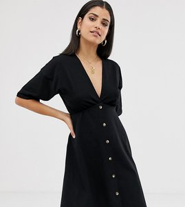 Read more about Asos design tall mini cotton tea dress with buttons-black
