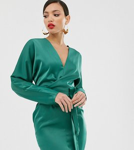Read more about Asos design tall mini dress with batwing sleeve and wrap waist in satin-multi