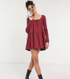 Read more about Asos design tall mini tiered smock dress with square neck and tiered hem in merlot
