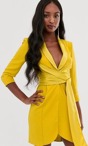Read more about Asos design tall mini tux dress with self belt-yellow